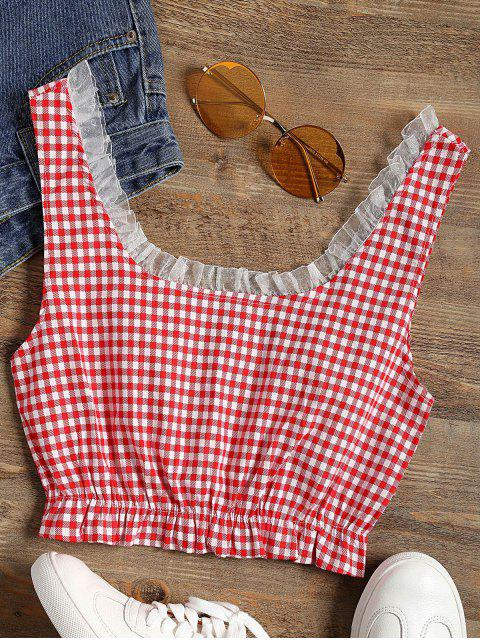 fashion Frilled Gingham Check Crop Top - RED S Mobile