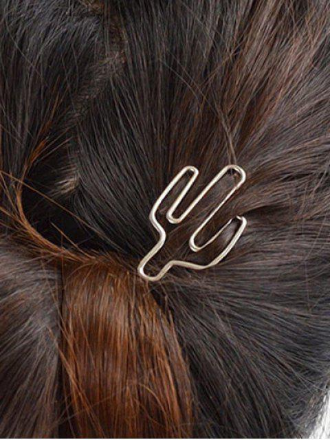 buy Hollowed-out Cereus Shape Metalline Hairpin - SILVER  Mobile