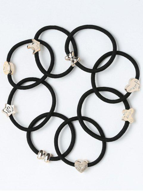 hot Heart Roundness Embellished Elastic Hair Bands Set - BLACK  Mobile