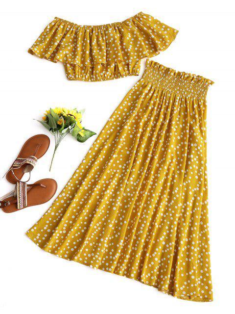 Top corto y conjunto de falda con lunares - Mostaza L Mobile