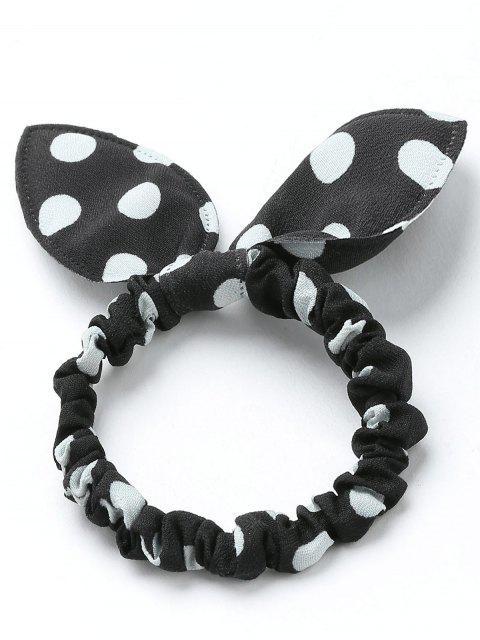 chic Bowknot Polka Dot Stertching Hair Band - BLACK  Mobile