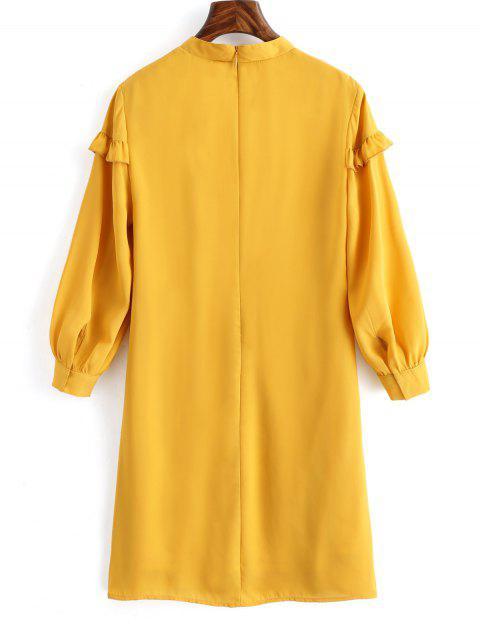 shop High Neck Belted Shift Dress - MUSTARD S Mobile
