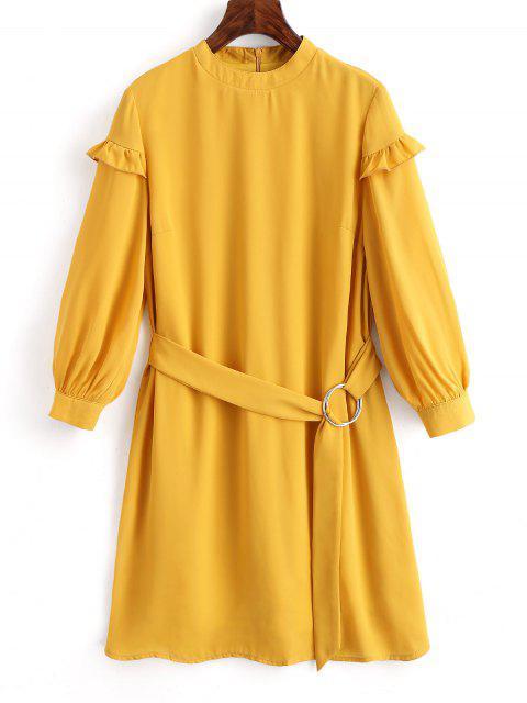 Vestido de cuello alto con cinturón - Mostaza L Mobile