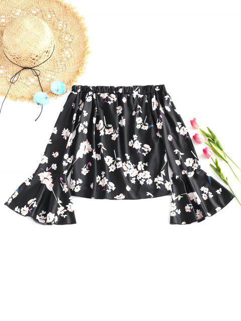 online Flare Sleeve Off Shoulder Floral Blouse - BLACK L Mobile