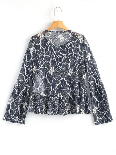 fancy Long Bell Sleeve Sheer Lace Top - BLUE AND WHITE XL Mobile