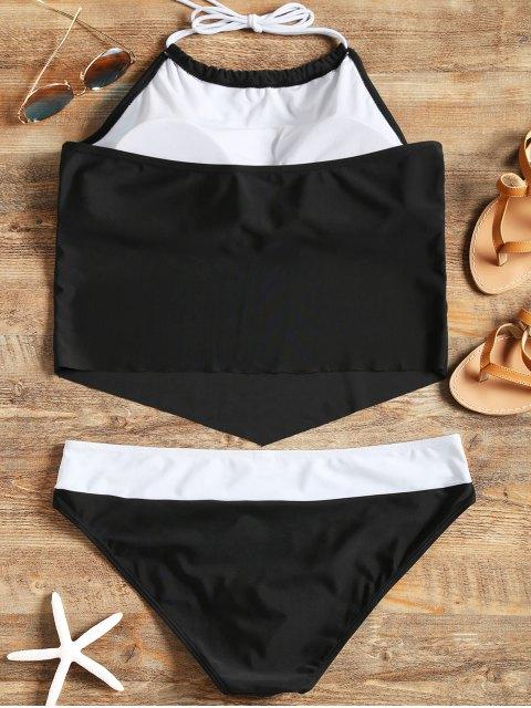 chic Halter Padded Plus Size Tankini Set - BLACK 3XL Mobile