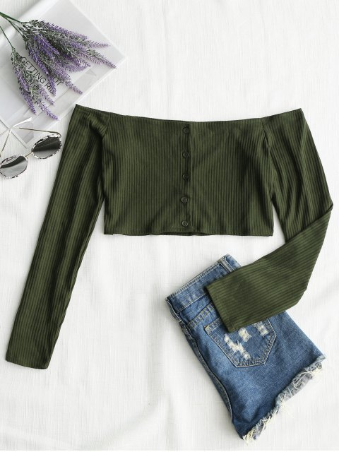 latest Ribbed Button Up Off Shoulder Top - ARMY GREEN L Mobile