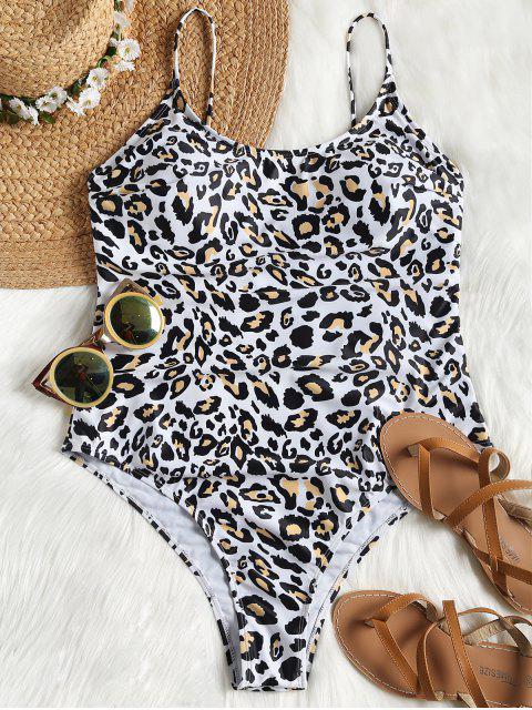 unique Leopard High Cut Plus Size Swimsuit - LEOPARD PRINT PATTERN XL Mobile