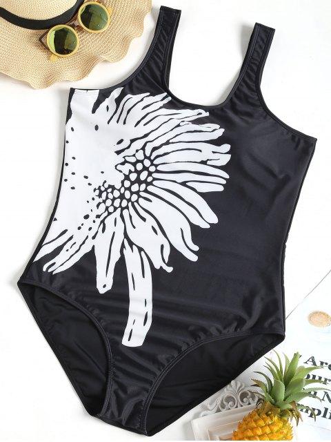 Blumen Gepolsterter Plus Größer Badeanzug - Schwarz 2XL Mobile