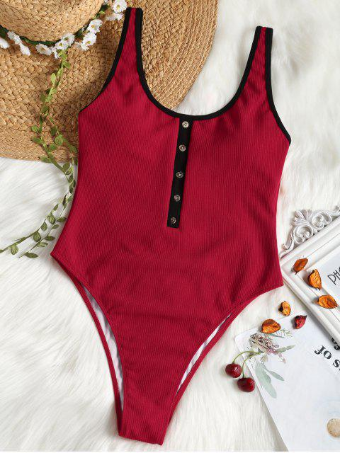 Faux Button Ribbed High Cut Swimsuit - Rojo S Mobile