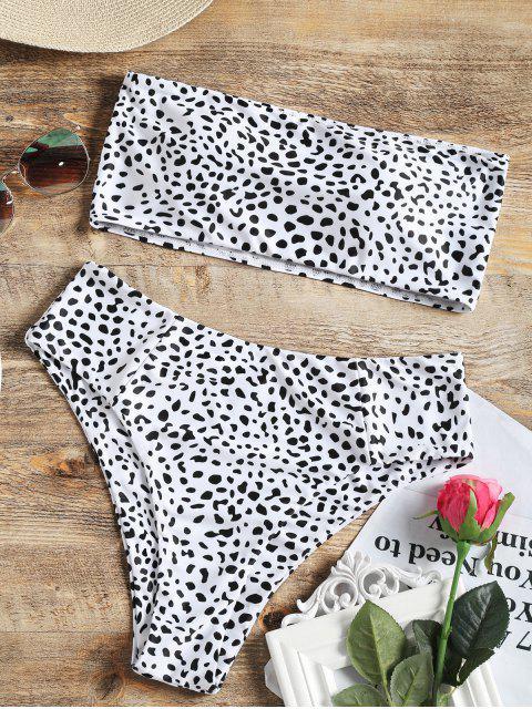 women Bandeau Bralette Leopard High Cut Bikini - WHITE M Mobile