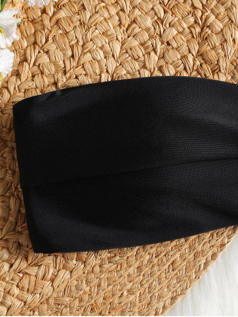 ladies Padded Bandeau Bathing Suit - BLACK S Mobile