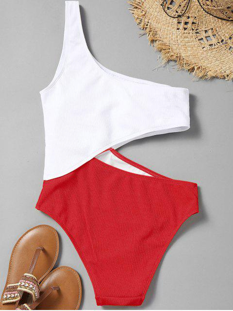 shop Cutout Ribbed One Shoulder Swimsuit - RED L Mobile