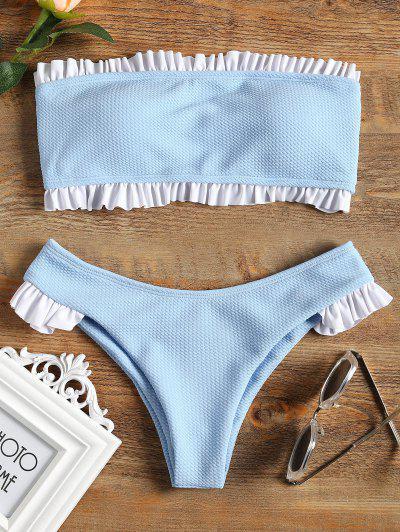 Ruffle Bandeau Bikini Set - Light Blue S