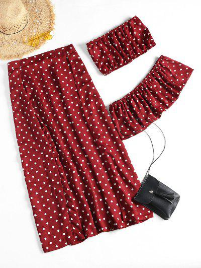 Off Shoulder Polka Dot Slit Skirt Set - Wine Red L