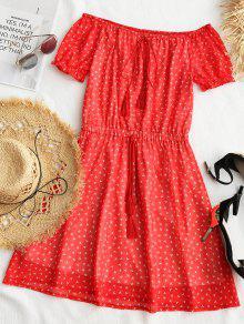 طباعة الشرابة معطلة الكتف البسيطة اللباس - أحمر L