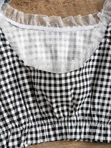 ec4b88bbb17f4 16% OFF  2019 Frilled Gingham Check Crop Top In BLACK WHITE