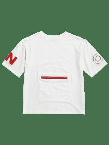 Blanco Manga De 2xl Corta Camiseta Estampada FT8pSS