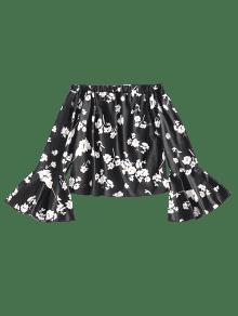 Con Descubiertos Descubiertos Con Negro Blusa Hombros Y S Floral Blusa Hombros 8gYtw6nq
