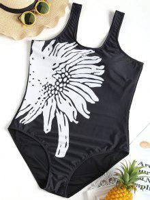 الأزهار مبطن بالإضافة إلى حجم ثوب السباحة - أسود 2xl