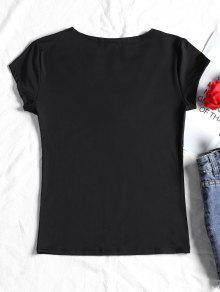 Camiseta M Con Abotonadas Mangas Negro zZTFA
