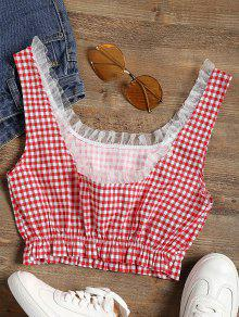 b9db2442f8f38 6% OFF  2019 Frilled Gingham Check Crop Top In RED