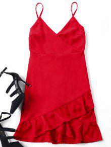 فستان كامي حزام البسيطة - أحمر L