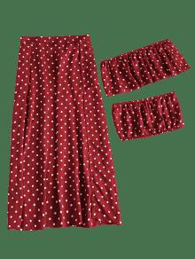 El Hombro Y Conjunto S Abertura Vino En Con Falda Rojo De Lunares UqK0w6R4H0