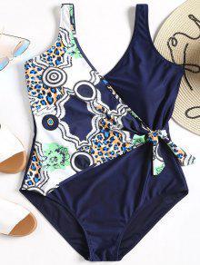 لباس سباحة بمقاس كبير مزين بطبعة - الأرجواني الأزرق 2xl