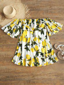 فستان طباعة الليمون بلا اكتاف - أبيض