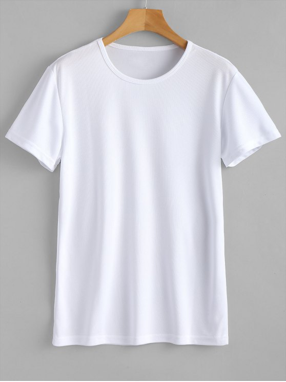 affordable Waterproof Eyelet Sport T Shirt - WHITE M