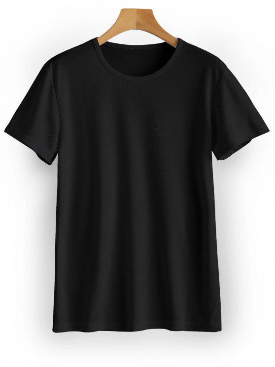 Wasserdichtes Ösen Sport T-Shirt - Schwarz L
