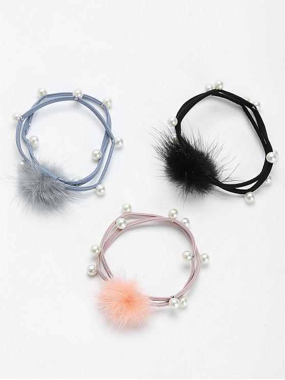 Fell Ball Faux Perle elastisches Haarband Set - COLORMIX