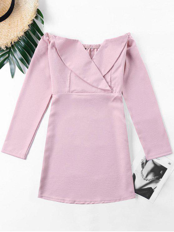 buy Off The Shoulder Foldover Dress - PINK S