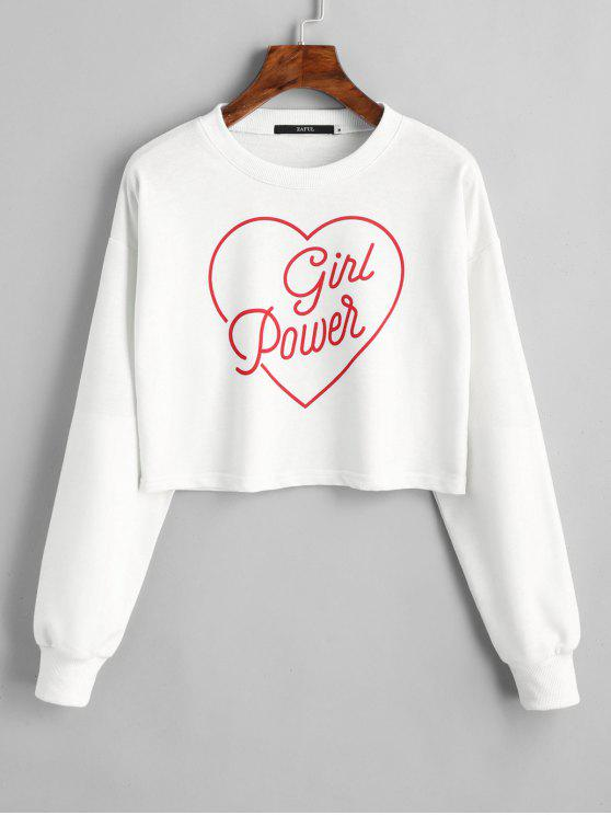ladies Dropped Shoulder Valentine Crop Sweatshirt - WHITE L