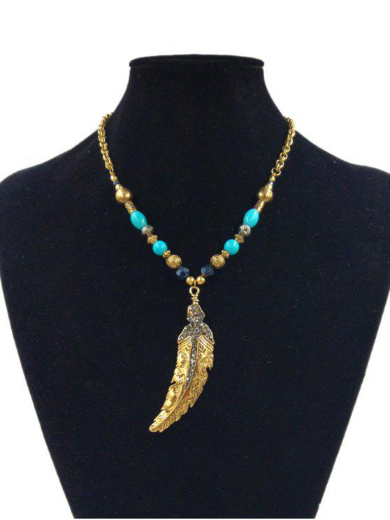 Diamante feather various beaded pendant necklace golden necklaces women diamante feather various beaded pendant necklace golden aloadofball Images