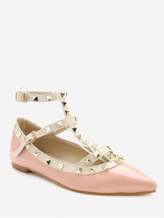 77b6c6ec1c24 2019 Ankle Strap Pointed Toe Flats In PINK 36