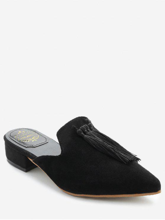 women's Pointed Toe Backless Loafers - BLACK 37