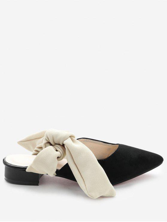 Loafers Backless de salto baixo - Preto 38