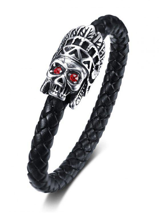 new Metal Skull Rhinestone Embellished Leather Bracelet - BLACK