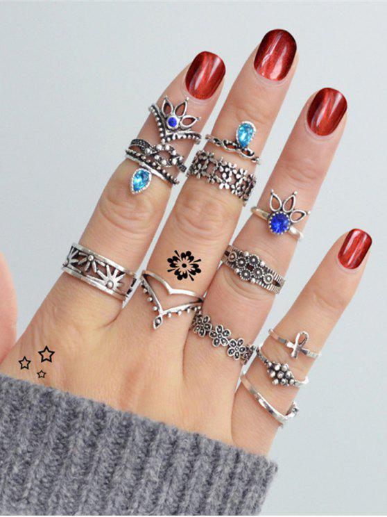 Set di anelli per dito a forma di croce con strass a goccia di pony - SILVER Taglia Unica