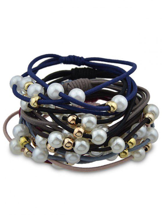 womens 7PCS Artificial Pearl Elastic Hair Bands - COLORMIX