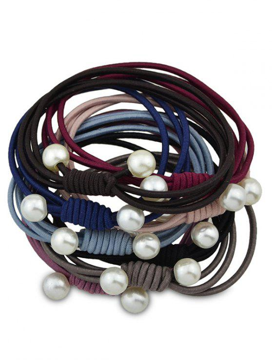 women Artificial Pearl Elastic Hair Band Set - COLORMIX