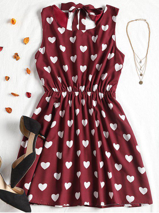 فستان مصغر طباعة القلب - عنابي اللون S