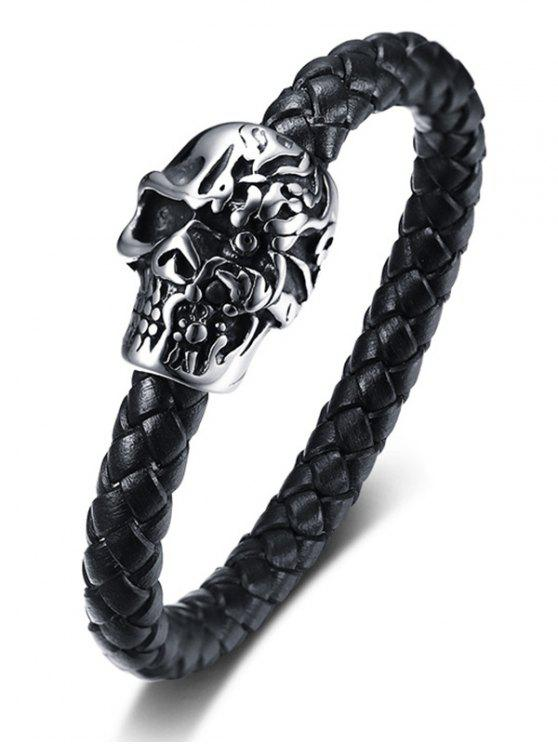 hot Metallic Skull Embellished Leather Bracelet - BLACK