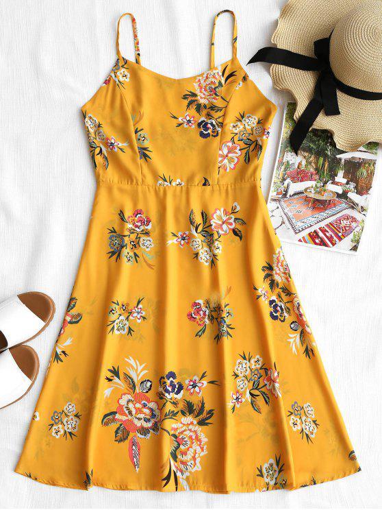 فستان سموكيد طباعة الأزهار كامي - الأزهار L