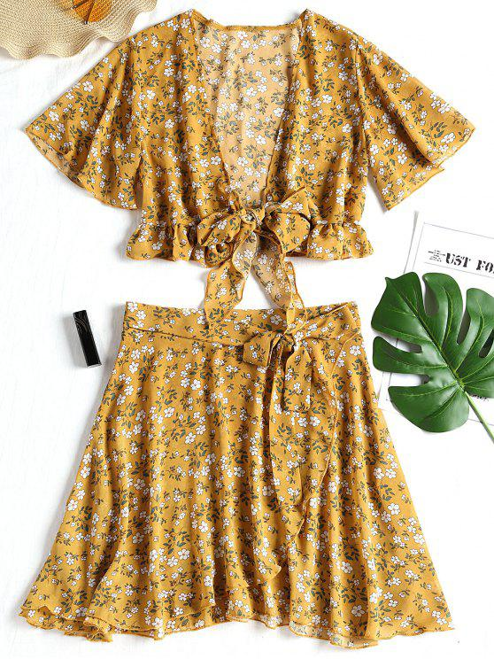 ladies Floral Chiffon Crop Top and Skirt Set - YELLOW M