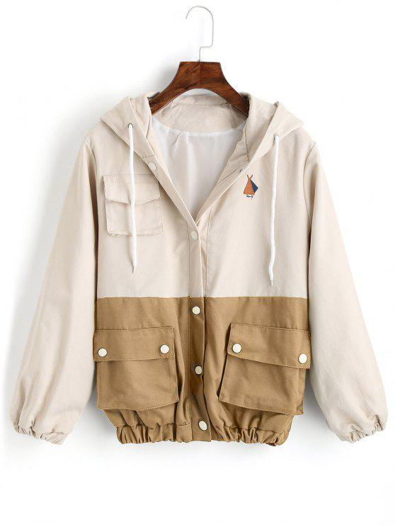 buy Snap Button Hooded Two Tone Jacket - KHAKI S