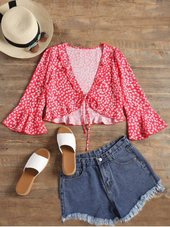 lady Floral Print Ruffles Flare Sleeve Blouse - RED M