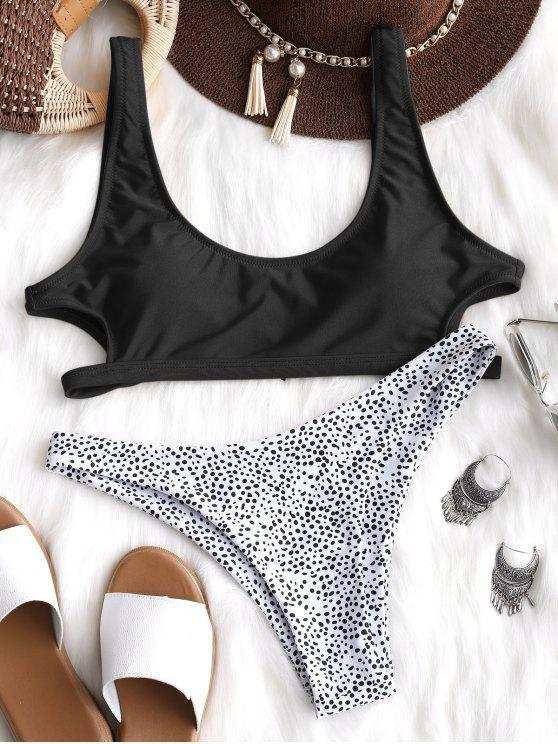 Ausgeschnitt Leopard Bikini Set - Schwarz S